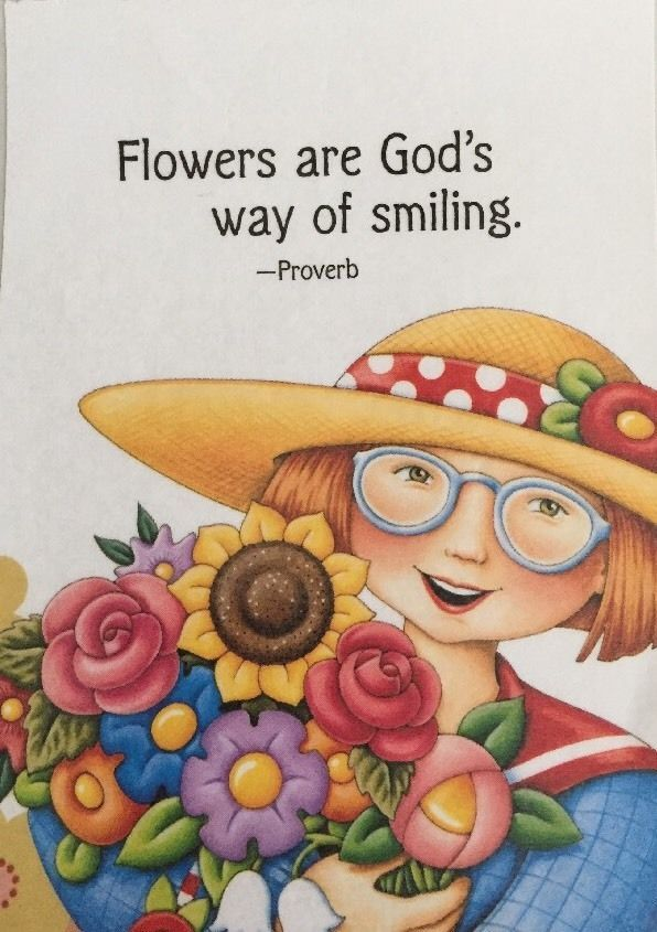 Flowers Are God's Way Of Smiling-Mary Engelbreit Artwork Magnet                                                                                                                                                     More