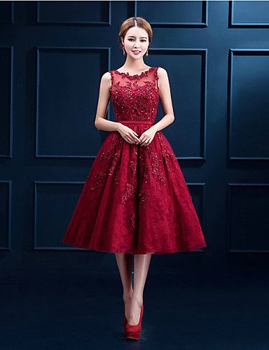 Cocktail Party Dress - Burgundy A-line Scoop Tea-length Lace 4386148 2016 – $109.99