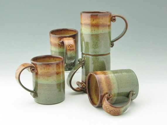 Pottery Cafe Style Coffee Mug, 16 oz Stoneware Beer Mug, Honey & Sage Mug, Sold Singly, Ready to Ship