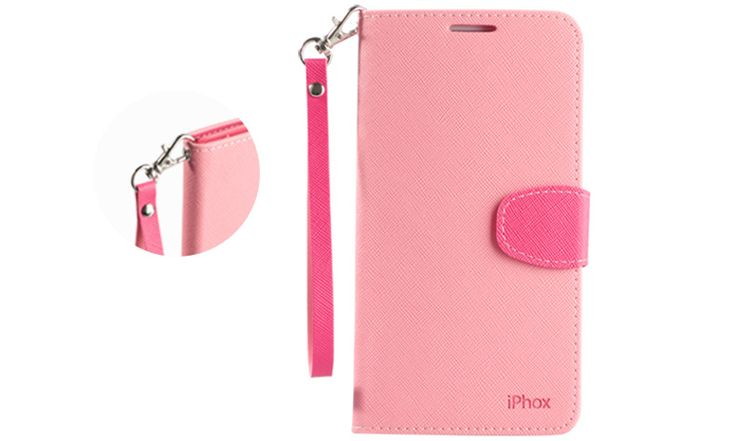 Huawei Mate 7 Pink Wallet Case - changeable wrist strap