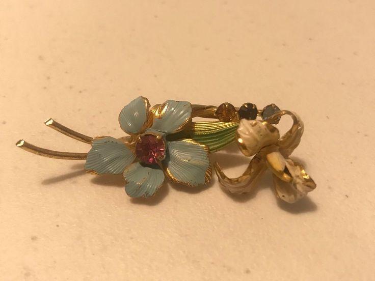 Vintage Signed Enamel And Rhinestones Flower Spray BROOCH Pin Gold Tone  #MadeAustria