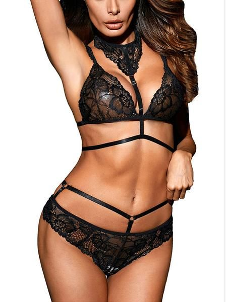 f209eb527f Sexy Black Halter Neck Two-piece Lingerie