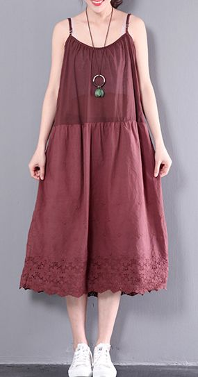 2017 red sleeve summer dress oversize maxi dresses fine cotton gowns