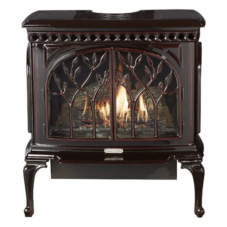 Avalon Tree of Life Gas stove in Majolica Brown Enamel. Available at Higgins Energy Alternatives in Barre, MA
