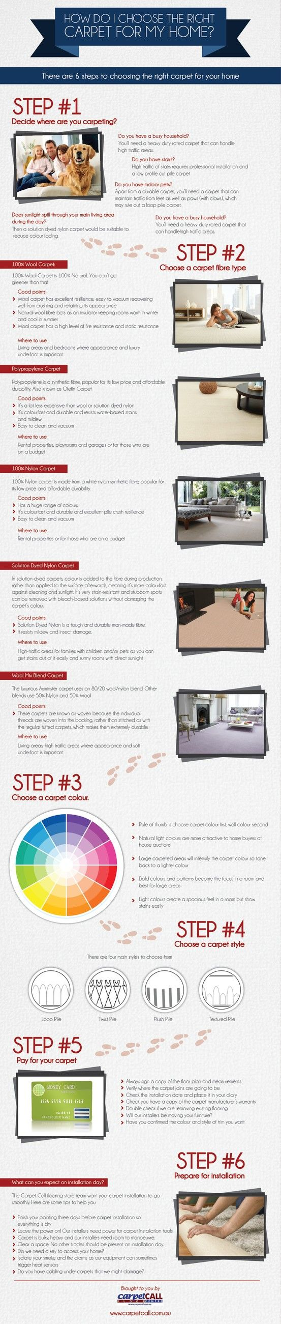 How do you choose carpet for your home? Carpet Call have created this handy flooring infographic to help you ask the right questions when choosing a carpet for your home. Knowing how different styles and fibres perform in your home will ensure you choose your carpet according to your lifestyle needs