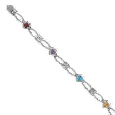 Sterling Silver 7 Inch Multicolor CZ Heart Open Link Bracelet - JewelryWeb JewelryWeb. $90.10