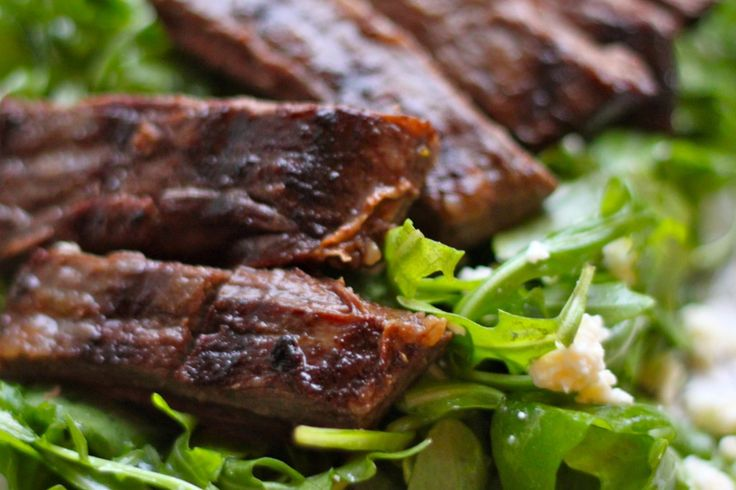 easy steak marinade --- olive oil, soy sauce, garlic cloves, brown sugar & salt!