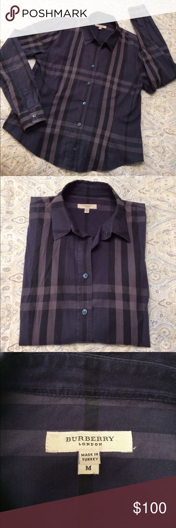 Authentic Burberry long sleeve button down Women's navy blue-ish purple Burberry long sleeve button up. Subtle signature plaid print. Reposh, only because I recently purchased another shirt like it and I don't need both. This shirt is fitted, unlike some button ups. Burberry Tops