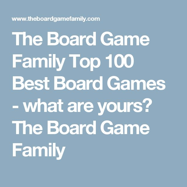 The Board Game Family Top 100 Best Board Games - what are yours? The Board Game Family