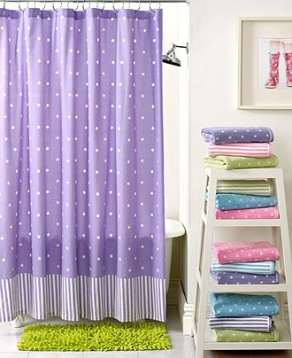 Ashley and Sydney Bathroom in Pink  Kassatex Bath Accessories, Bambini Stars Dots and Lines Shower Curtain - Shower Curtains & Accessories - Bed & Bath - Macy's