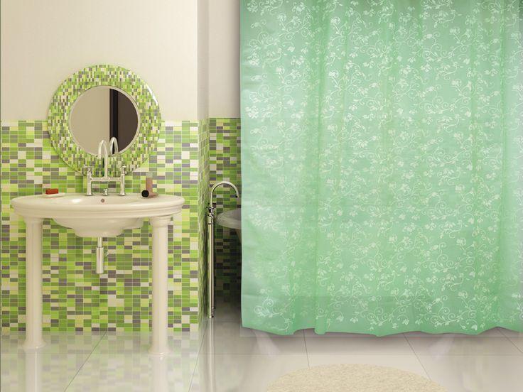 WESS Rattan green - занавеска для ванной комнаты из пластика 180х180 см. Цена 665р. Посмотреть на сайте: http://likemyhome.ru/catalog/shtorki-karnizy-kolca/00003923 #likemyhome #showercurtain #bathroomdecor #interiorstyle #wess #rattan