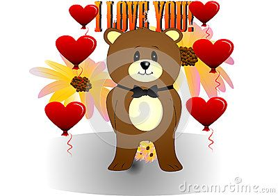 Bear illustration of flowers and inscription I love you.
