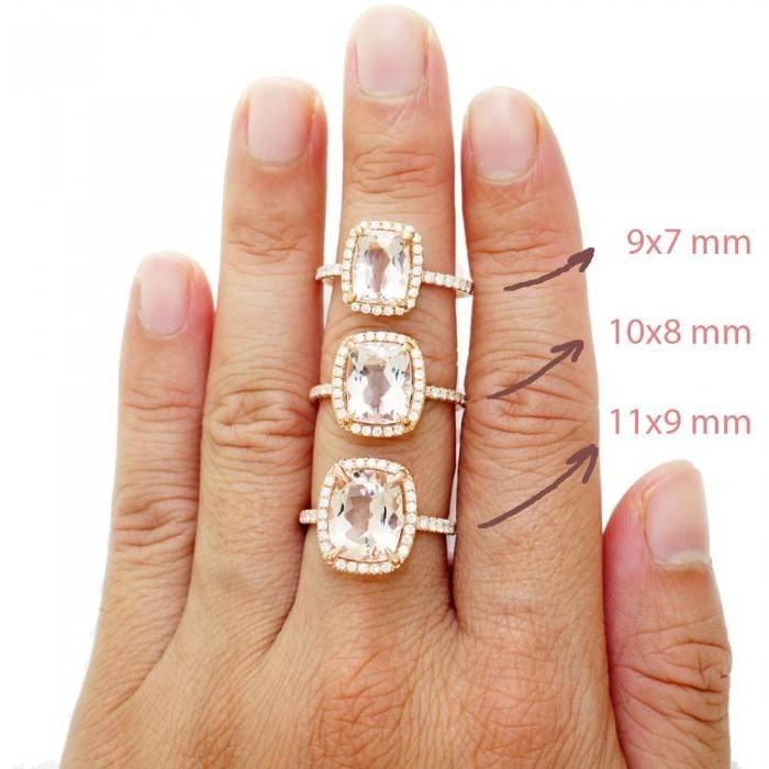 Cushion morganite 11x9 diamond halo engagement ring drenched under basket rose gold