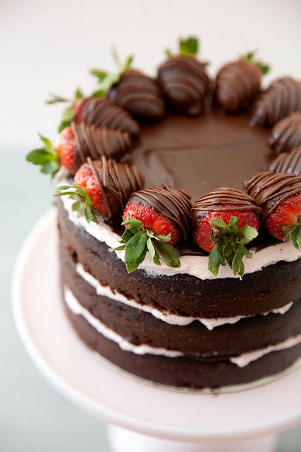 chocolate covered strawberry layer cake