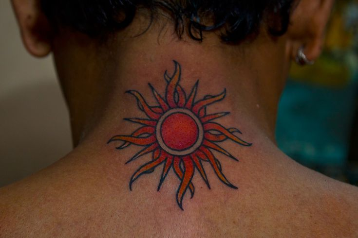 sun tattoo for men neck