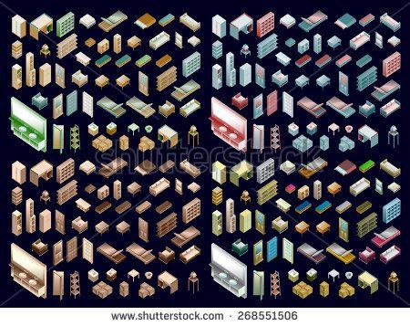 Isometric Home Planning. 3D Vector Creation Kit. interior element custom