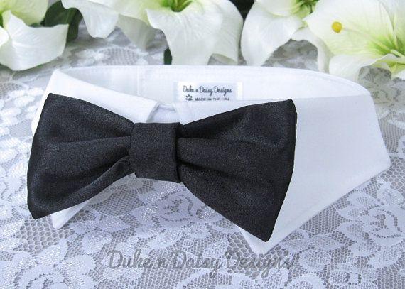 Black Satin Dog Bow Tie Wedding Collar Party Pet Ring