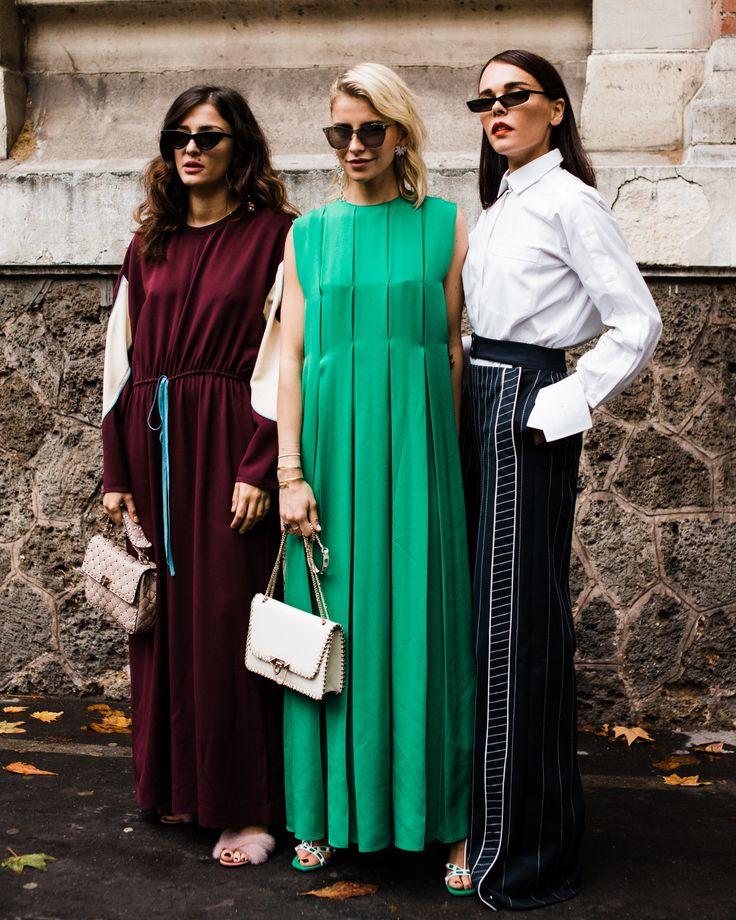 Influencers Eleonora Carisi, Caroline Daur, & Evangelie Smyrniotaki outside the Valentino show