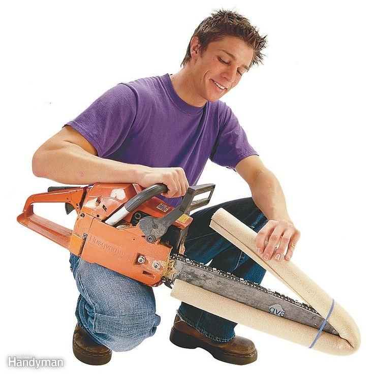 Chain Saw Blade Guard - Protect a chain saw blade with 3/4-in. foam pipe insulation. Wrap the insulation around the blade and strap it tight with a couple of rubber bands.