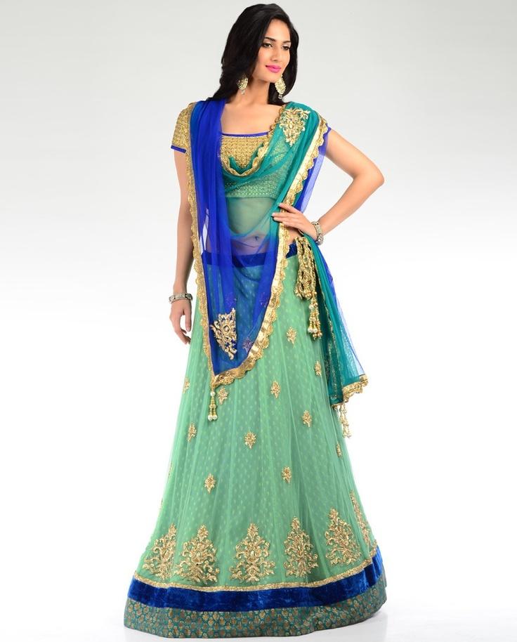 Aqua Green Embellished Lengha Set  by Aneesh Agarwaal