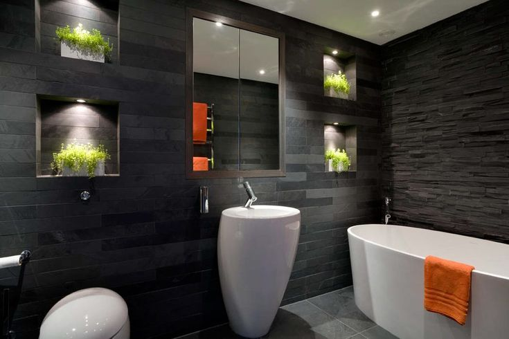 london Slate Tile with glass mosaic tiles bathroom contemporary and black white modern toilet