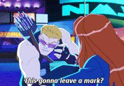 This gonna leave a mark? / Uh, I'd avoid mirrors for a while. || Clint Barton, Natasha Romanoff || Avengers Assemble || 245px × 170px || #animated #clintasha