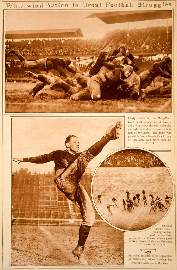 1923 Rotogravure Vintage Football Navy-Penn Game Kicker Field Goal Pla - Period Paper