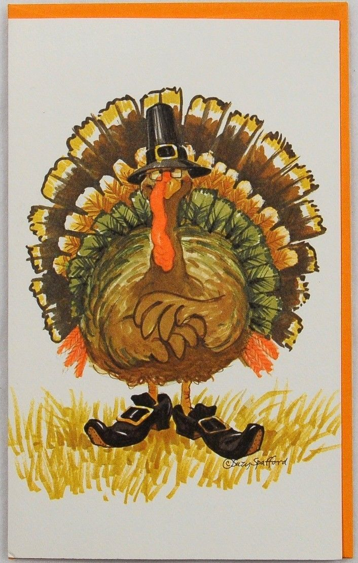RARE 1980 Suzy's Zoo Thanksgiving Greeting Card