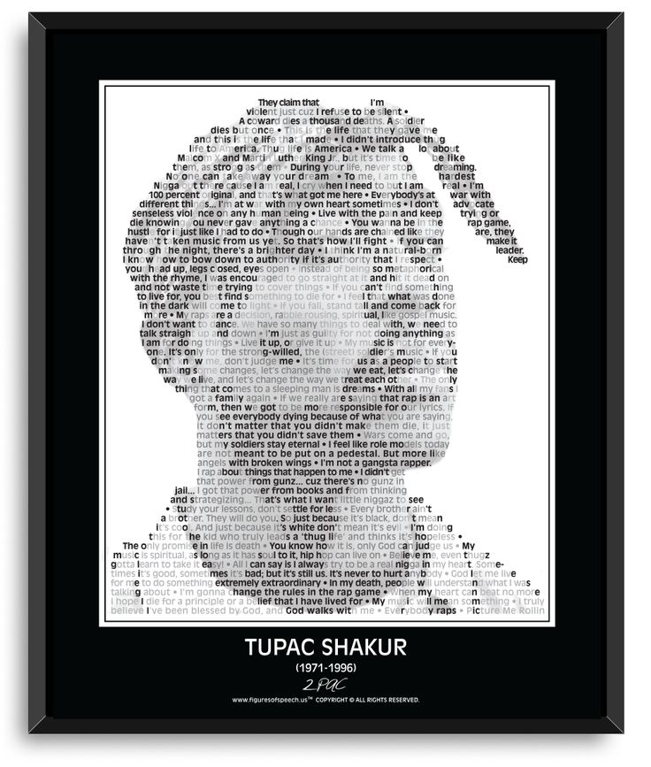 """- Figures Of Speech brings the words of Tupac Shakur to life thru our unique and powerful combination of his image and quotations. - Sure to enhance your living space as well as your life! - 24"""" x 30"""""""