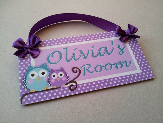 owls in a branch bedroom decor purple and teal girls door signs room decor p398