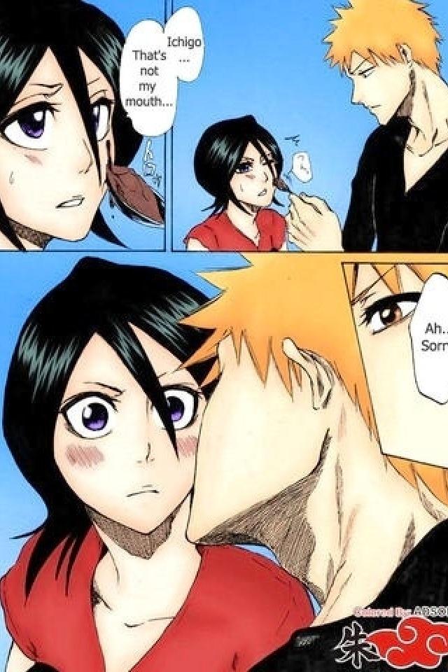 Rukia x Ichigo and everyone knows he did that on purpose :D
