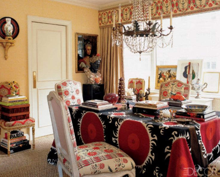 Traditional dining room with cornsilk yellow walls and a for Traditional red dining room