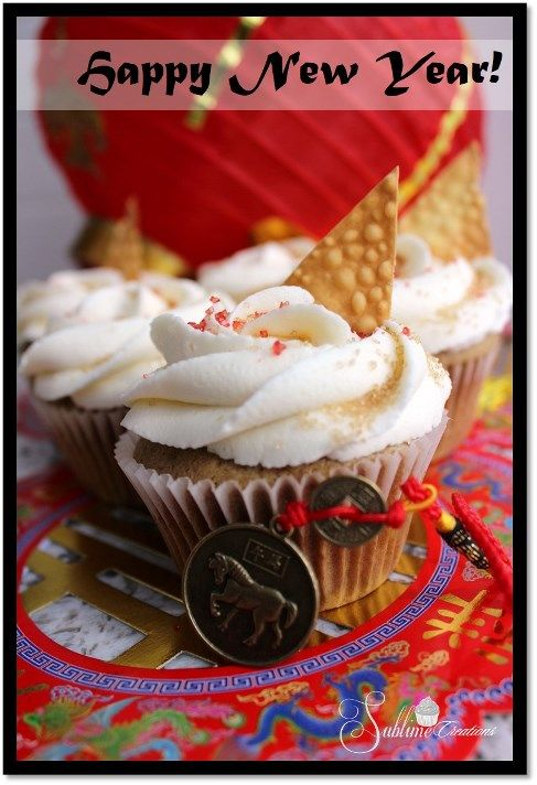 Celebrate Chinese New Year with our 5 Spice Cupcake with Sesame Honey Buttercream, topped with Crispy Wontons. YUM!