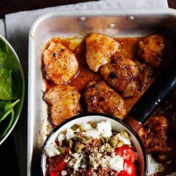 Rött ris med kyckling, fetaost & rostade pumpafrön - Recept - Tasteline.com