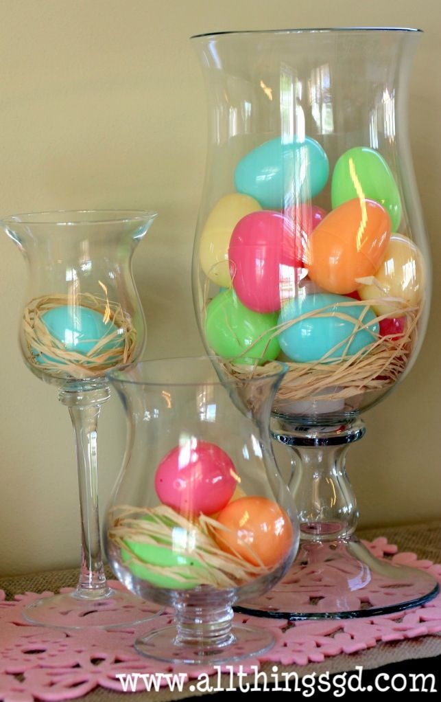 Decorating with Easter eggs. Could do the same with Christmas ornaments or pumpkins.