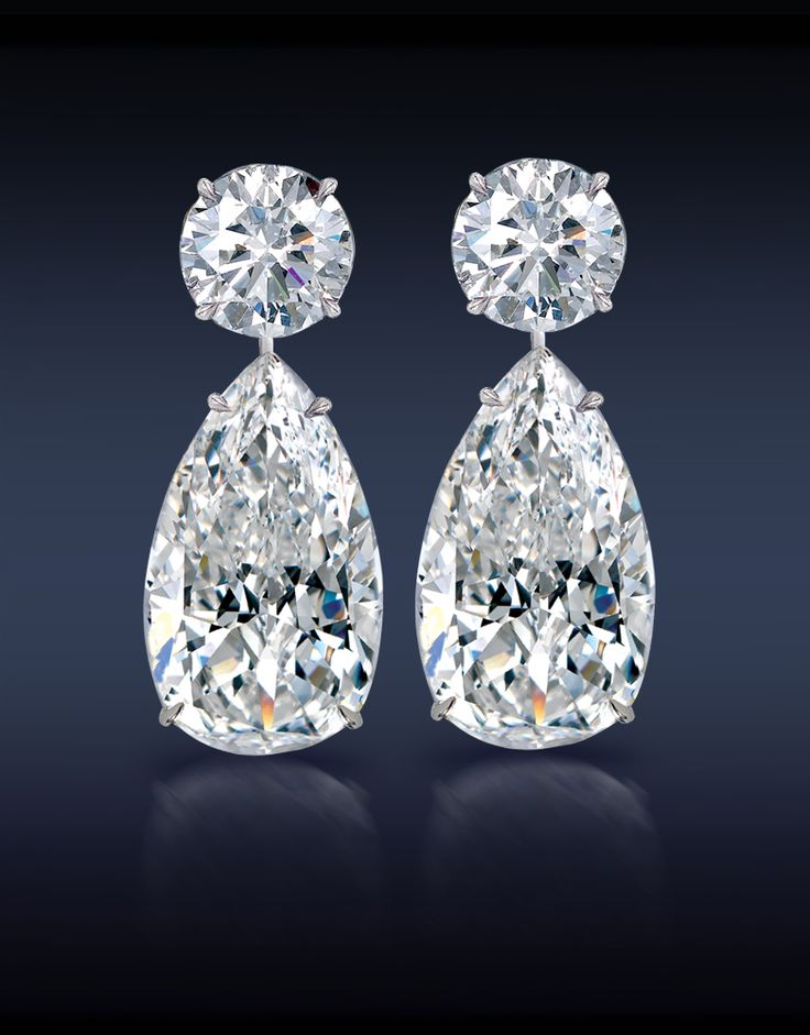Jacob  Co. Teardrop Diamond Earrings. Two Brilliant Cut Pear Shape Diamonds, 12.31 Carats.  Topped With Two 3.16 Carat Round Brilliant Cut Diamonds mounted in 18K White Gold.