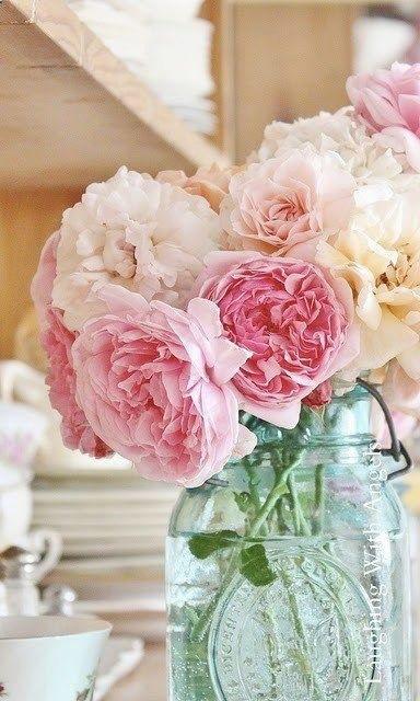 Pink peonies in aqua mason jar #flowers #floral -Home Decor