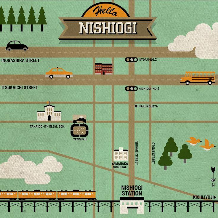 Vintage Map, Nishiogikubo, Tokyo, Japan,  Designed by Tawara Takuya