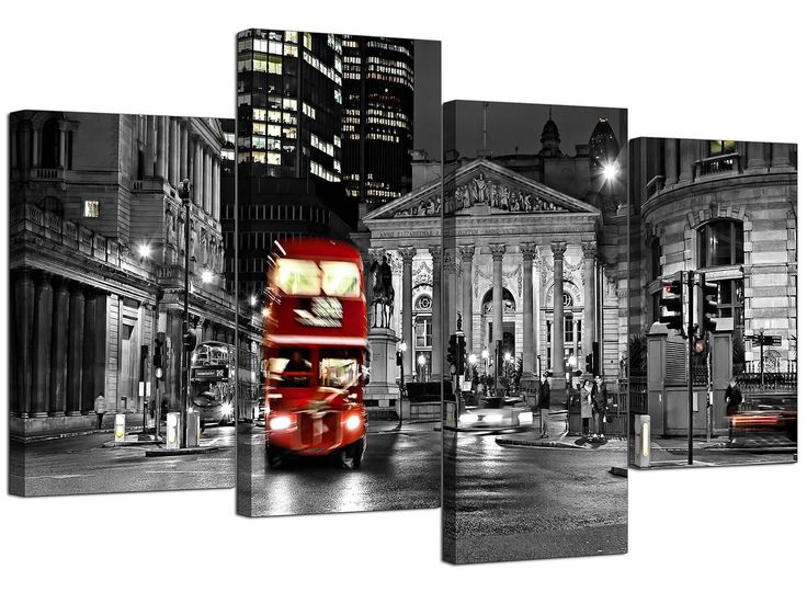 Canvas Prints of Red London Bus in Black & White - £29.99