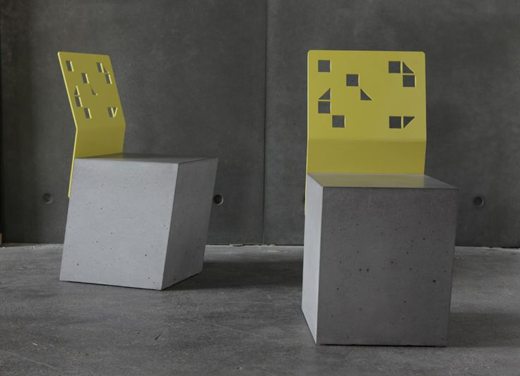 POPconcrete Boksi stools with powdercoated  yellow backrest.