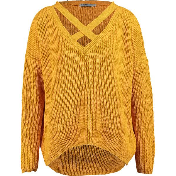 Mustard Cross-Neck Jumper ($17) ❤ liked on Polyvore featuring tops, sweaters, jumper tops, yellow sweater, yellow top, yellow jumper and mustard yellow jumper