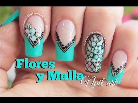 Diseño de uñas mariquita y flores - Ladybug & flower Nail art - YouTube
