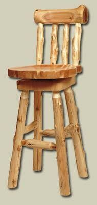 Elegant Pine Log Bar Stools