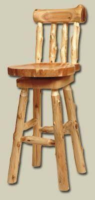 Rustic Cabin Bar Stools | lodge log bar stool with back 30 in bar height rustic log bar stool ...