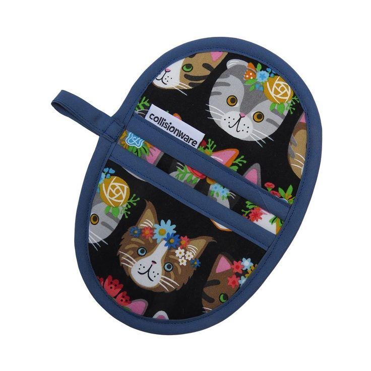 Flower Cats Mini Oven Mitt - Handmade