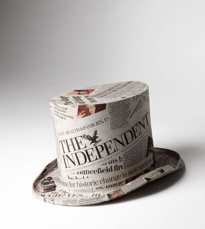 ©Kyle Bean, Top Hat made from newspapers to illustrate an article for the Newspaper Editor of the Year in GQ