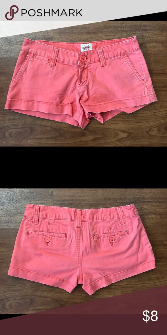 Mossimo juniors Shorts Size 1 Mossimo juniors Shorts Size 1. Some fading otherwise great condition. 98% cotton 2% spandex. Coral peach color. Mossimo Supply Co. Shorts
