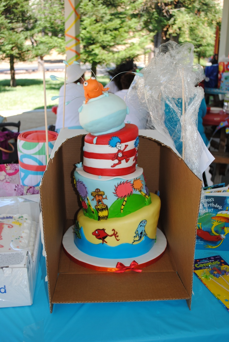 Dr. Seuss tiered.  This was the cake i had made for my sons 1'st birthday.