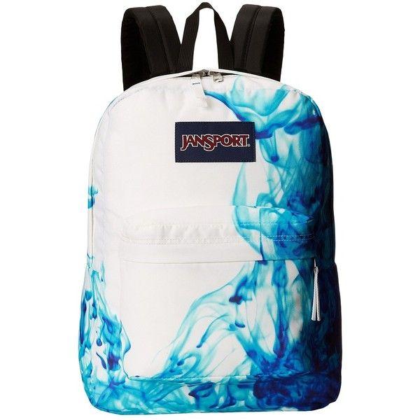 JanSport SuperBreak® ($35) ❤ liked on Polyvore featuring bags, backpacks, multi blue drip dye, knapsack bag, jansport rucksack, polyester backpack, blue bag and jansport backpacks