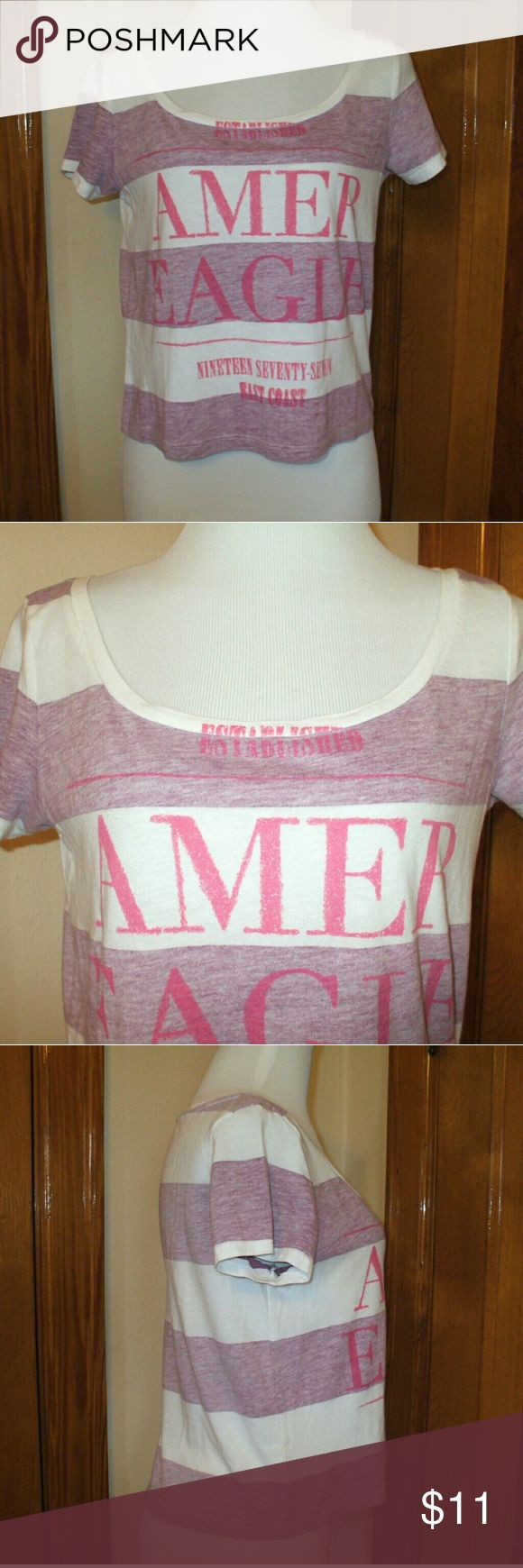 American Eagle Crop Logo T Shirt Short sleeves - scoop neck - purple and white stripes with pink logo - crop length - soft cotton/polyester blend - gently used, great shape - smoking home American Eagle Outfitters Tops Tees - Short Sleeve